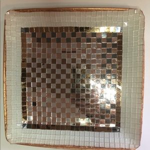 Gold Mirrored Mosaic Plate